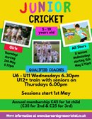 Junior coaching sessions start 1st May