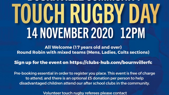Touch Rugby Community Day at Bournville RFC – 14th November