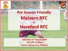 Pre Season Friendly - Malvern RFC v Hereford RFC