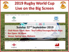 Rugby World Cup - Sunday 22nd September 2019