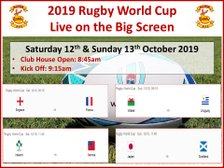 Rugby World Cup Matches - 12th & 13th October