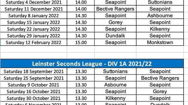 Revised Leinster League Fixtures 2021-2