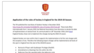 RULE CHANGES FOR 2019-20 SEASON!