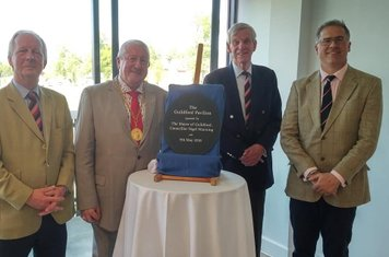 Guildford Chairman Robert Charles, Guildford Mayor  Cllr Nigel Manning, Guildford President David Watts & Surrey CCC CEO Richard Gould.