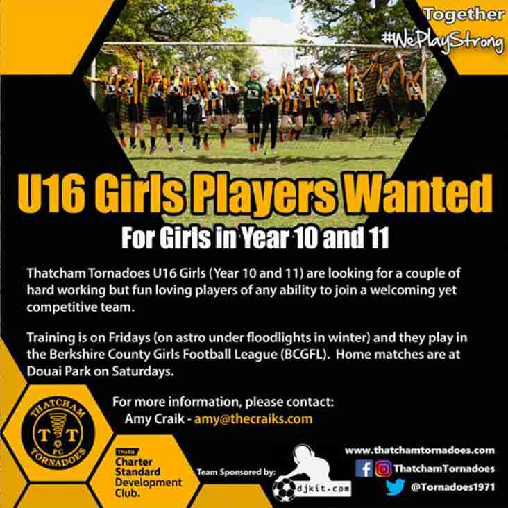 PLAYERS WANTED: Thatcham Tornadoes U16 Girls