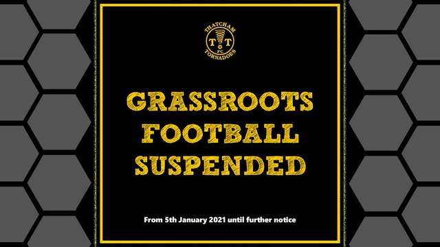 Grassroots Football Suspended - 5th January 2021