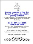Crusaders are holding Year 3  Free Football Open Morning