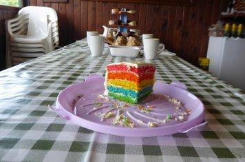 A fabulous rainbow cake for tea!