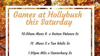 Home games at Hollybush this Saturday 19th October.