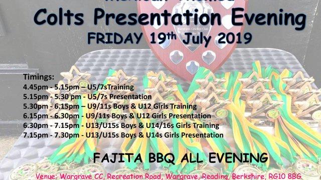 Wargrave CC Colts Presentation Evening 2019 - Friday 19th July