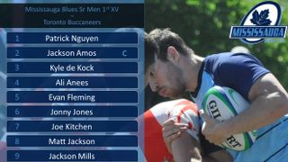 Blues Sr Men 1st XV Line-up vs Toronto Buccaneers