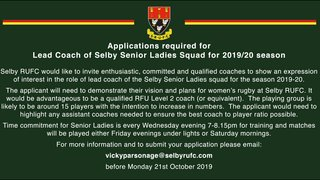 Selby RUFC Coaching Vacancy
