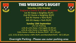 This Weekend's Rugby - 12th & 13th October