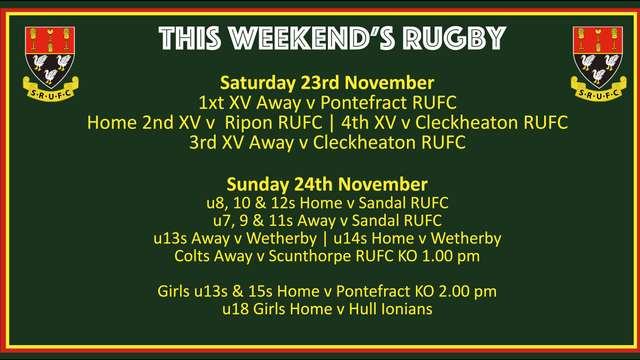 This Weekend's Rugby - 23rd & 24th November