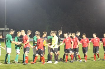 Players and officials shaking hands before kick off.