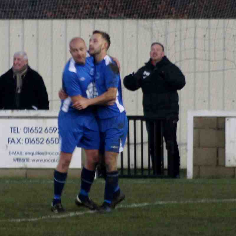 Gavin King being congratulated for his second goal.