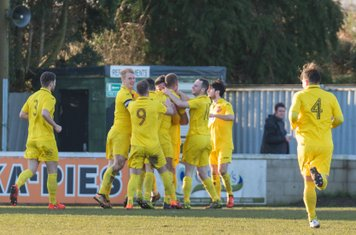 Dan Thirkhall being congratulated for his first goal.