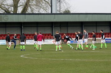 AFC Emley warming up.