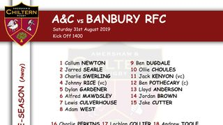 1xv Team Selection vs Banbury (A), Kick off 1400