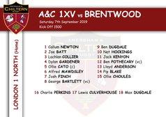 1xv Team Selection vs Brentwood (H) Kick off 1500