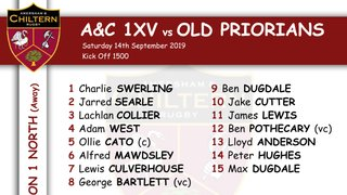 1xv Team Selection vs Old Priorians (A) Kick off 1500