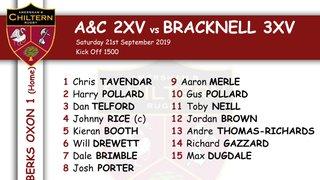 2xv Team Selection vs Bracknell 3xv (H) Kick off 1500