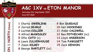 1xv Team Selection vs Eton Manor (H) Kick off 1500