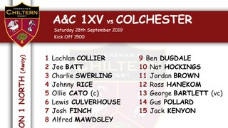 1xv Team Selection vs Colchester (A) Kick Off 1500