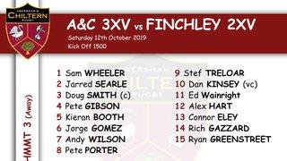 3xv Team Selection vs Finchley 2xv (A) Kick Off 1500