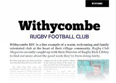 Club Features in Rugby Club Magazine