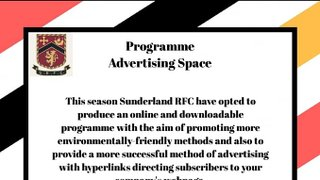 2019/2020 Matchday Programme Advertisement opportunities