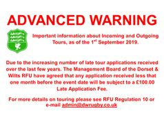 RFU changes ruling on Club Tours