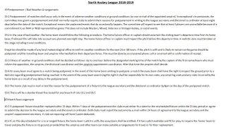 North Hockey League Match Postponements