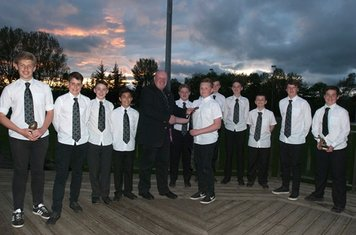 The S1/2 grop receiving their Strathmore RFC ties from Murray Duguid