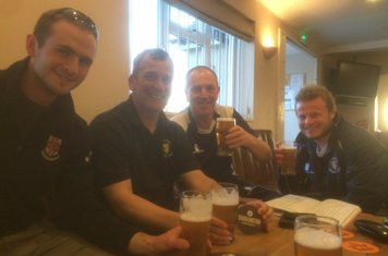 Chadlington CC II X1 celebrate victory, a hat trick and a six wicket haul for Will Doar with Chadlington's very own Oxford Blonde. beer