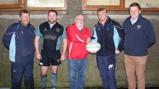 Match Ball Sponsor Ian Frizzell, Frizzell Safety Systems, presents a Match Ball to 1st XV Coach Chris Cochrane, along with L-R Coaches Richard Beggs , Jimmy Carson and Club Vice-Chairman Alec Houston following Saturday's home fixture with Queen's Universi