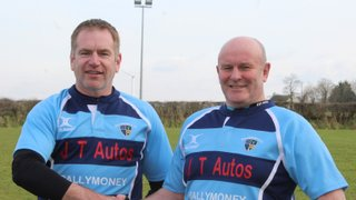 John Waide, Captain of Ballymoney 4s, thanking Jarvis Trainor of JT Autos for the team's new kit, prior to their match with Coleraine 2s.