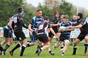 Ballymoney forwards on the attack.