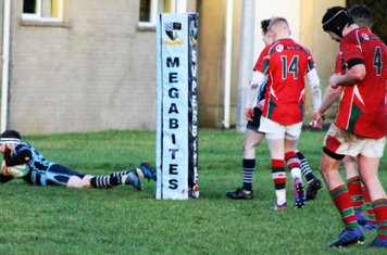 Martin Irwin completes his hatrick of tries. Well done Martin. Hope you kept the ball!!