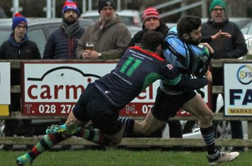 Michael heads for the tryline, only for the score to be disallowed for a forward pass.