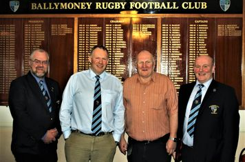 Club President, John Waide and Club Chairman, John Hunter welcome Club Sponsors Sam Moore and Rodger Hill, Moore Unidrill, to the Club, prior to their KQ2 League match with Lurgan RFC 1st XV.