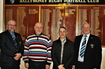 Club President, John Waide and Club  Chairman, John  Hunter,welcome  representatives from Club Sponsors, Pet and Country, to the Club prior to their KQ2 League match with Lurgan RFC 1st XV.