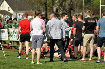 Players and coaches prepare for the next game at the Ulster Rugby U20s Tournament