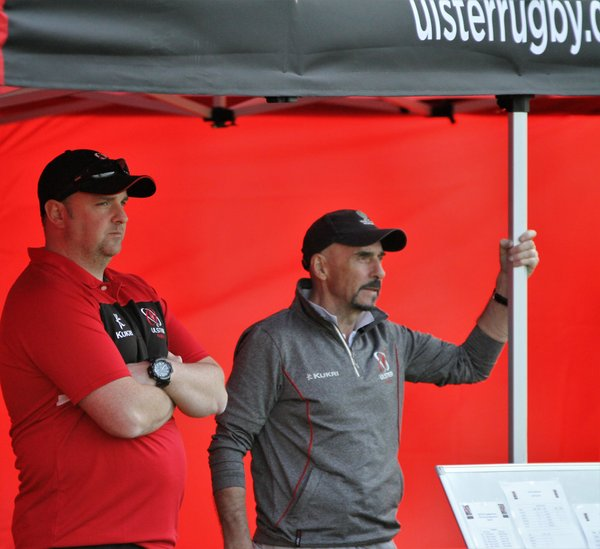 Ulster Rugby Development Officer Ricky Hoey and Branch colleague survey the matches,