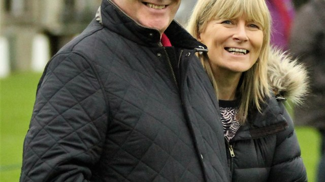Club President, John Waide and his wife, Marie (or should that be The First Lady?) giving their support to the 3rds, in their league match with Ballymena RFC 3rds, on a rather dull day at Eaton Park, Ballymena.