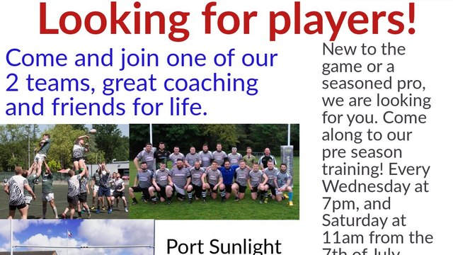Port Sunlight RFC is looking for players