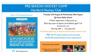 Summer Hockey Camp in Association with 1-2-1 Hockey Coaching