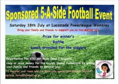 5 a side football event. for the Kaylah Simms Foundation.