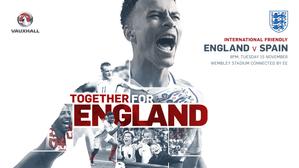 England vs Spain at Wembley - Tuesday 15 November (8pm kick-off).