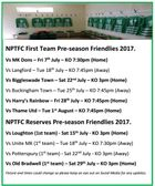 Updated 1/7/17- NPTFC First Team & Reserves Team Pre-season Friendlies 2017